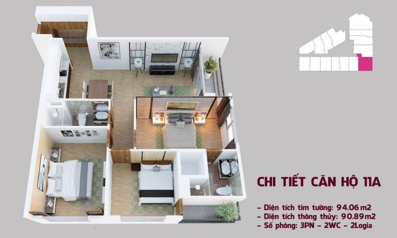 Chi tiết căn hộ 11a tòa Tháp Chung Cư