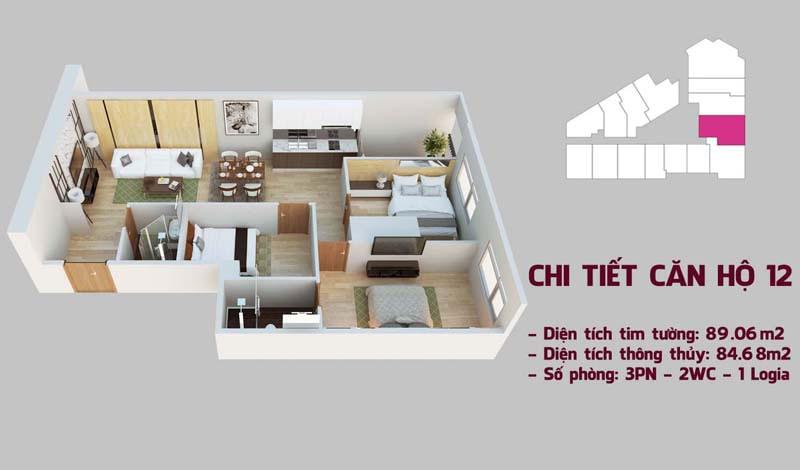 Chi tiết căn hộ 12 tòa Tháp Chung Cư