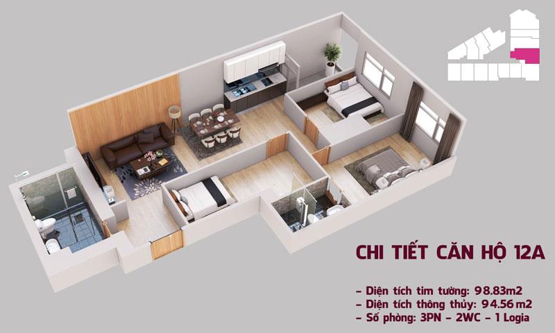 Chi tiết căn hộ 12a tòa Tháp Chung Cư