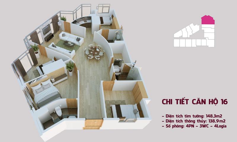 Chi tiết căn hộ 16 tòa Tháp Chung Cư